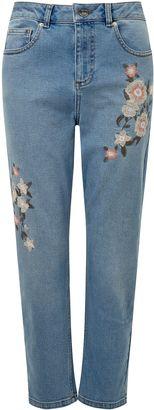 Miss Selfridge Petite Embroidered Mom Jean