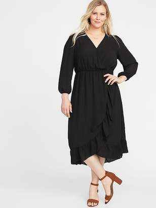 Old Navy Waist-Defined Plus-Size Faux-Wrap Georgette Dress
