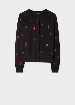Paul Smith Women's Black Embroidered Floral Merino Wool Cardigan