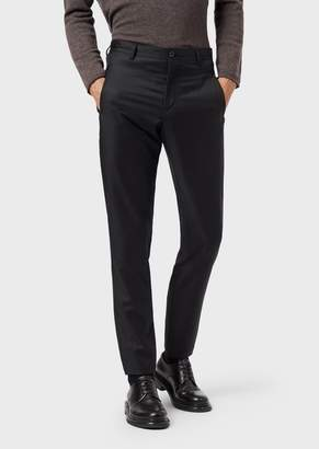Giorgio Armani Slim-Fit Trousers In Virgin Wool Gabardine