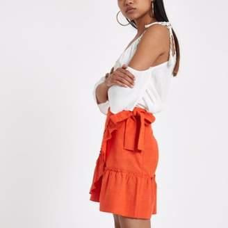 River Island Womens Petite orange frill wrap mini skirt