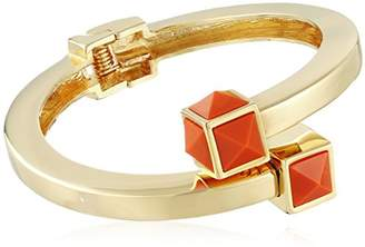 Trina Turk Retro Sport Pyramid Stone Bypass Flex Gold Orange Cuff Bracelet