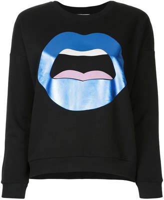 Yazbukey metallic lips graphic print sweatshirt