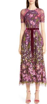 Marchesa Embroidered Midi Cocktail Dress
