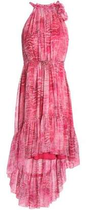 Elie Tahari Carelle Bow-Detailed Printed Silk-Georgette Dress