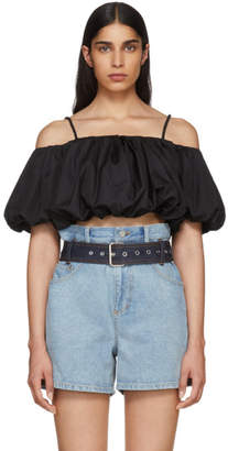 3.1 Phillip Lim Black Poplin Off-The-Shoulder Blouse