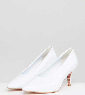 Dune London Exclusive Ari White Leather Vampy Kitten Heeled Shoes