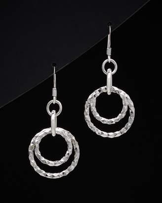 Italian Silver Circle Drop Earrings