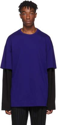Juun.J Blue Layered Logo Long Sleeve T-Shirt