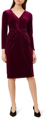 Hobbs Red Velvet V-Neck 'Emilia' Knee Length Pencil Dress