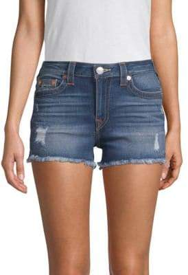True Religion Distressed Denim High-Waisted Shorts