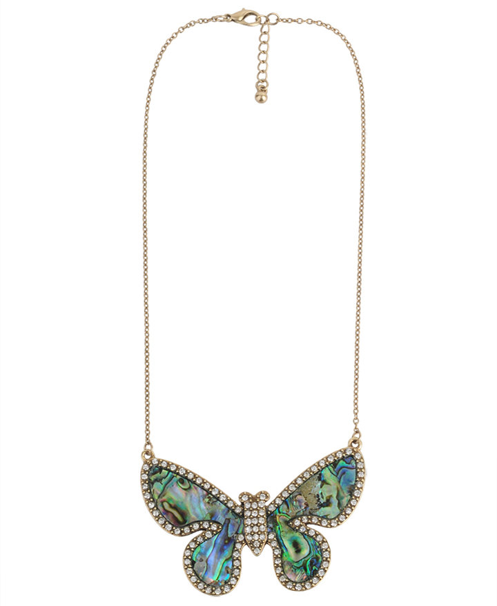 Forever 21 Rhinestoned Iridescent Butterfly Necklace