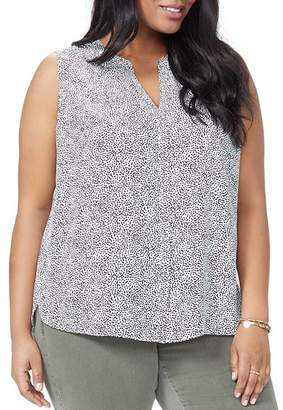NYDJ Plus Sleeveless Pintuck-Back Blouse