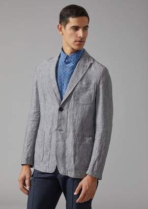 Giorgio Armani Jacket In Linen Canvas
