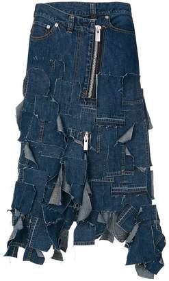 Sacai twisted denim patchwork skirt