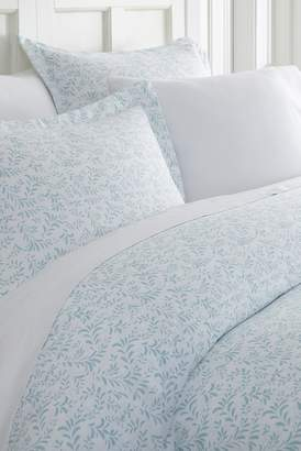 IENJOY HOME Home Spun Premium Ultra Soft 3-Piece Burst of Vines Print Duvet Cover King Set - Light Blue
