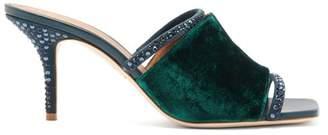 Malone Souliers Laney Crystal Embellished Velvet Mules - Womens - Dark Green