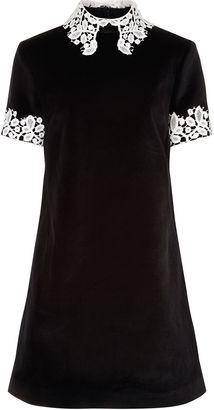 MacGraw Black Velvet Opium Collared Dress $635 thestylecure.com