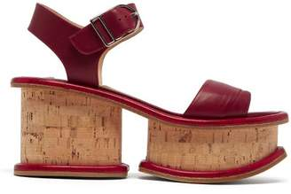 Gabriela Hearst Harrigan Leather And Cork Platform Sandals - Womens - Burgundy
