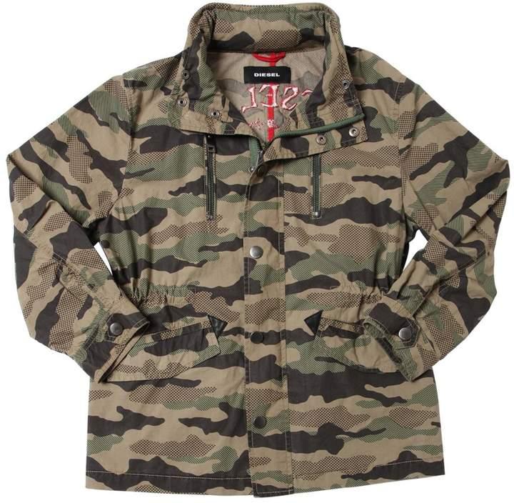 Camo Print Cotton Gabardine Jacket