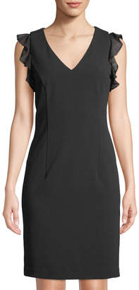 Donna Karan V-Neck Ruffle-Shoulder Sheath Dress