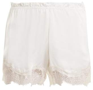 Icons Waterlily Lace Trimmed Silk Satin Pyjama Shorts - Womens - White