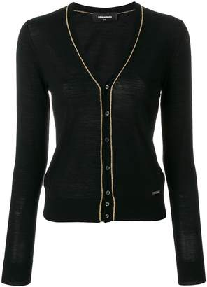 DSQUARED2 metallic trim knitted cardigan