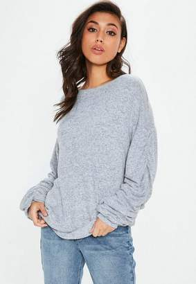 Missguided Light Blue Brushed Ruched Sweatshirt