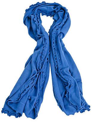 A & R Cashmere A&R Cashmere Lettuce Edged Cashmere-Blend Wrap - Blue - a&R Cashmere