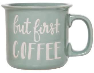 "Clay Art Threshold Camper Mug 15oz Stoneware ""But First Coffee"" Green"