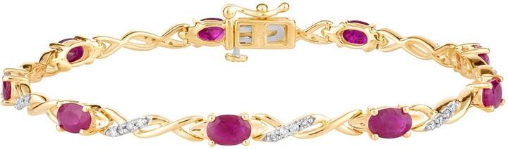 10k Gold Ruby 1/3 Carat T.W. Diamond Double Infinity Link Bracelet