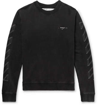 Off-White Off White Printed Loopback Cotton-Jersey Sweatshirt - Men - Anthracite