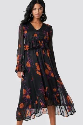 Na Kd Boho Long Sleeve Flounce Midi Dress Orange/Purple Print