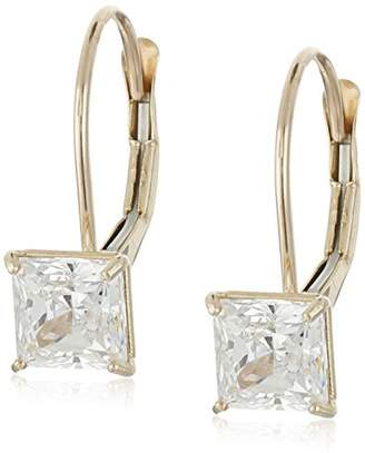 Swarovski 10K Gold Princess Cut Dangle Earrings Made with Zirconia (1 cttw)