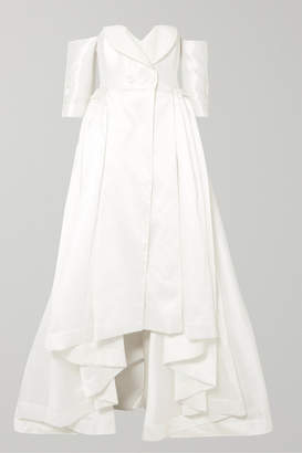 Alexis Mabille Off-the-shoulder Satin-piqué Gown - White