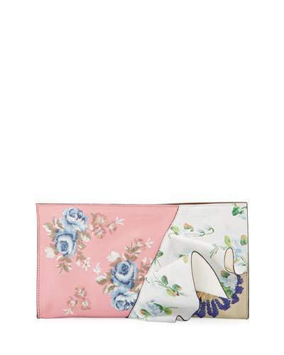 Alexander McQueen Alexander McQueen Embroidered Flower Ruffle Clutch Bag, Multi