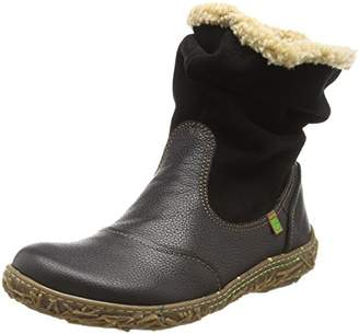 El Naturalista Women''s N758 Soft Grain-LUX Suede Black/Nido Slouch Boots, N01