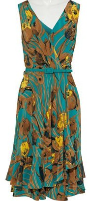 Carolina Herrera Wrap-Effect Ruffled Printed Silk-Georgette Dress