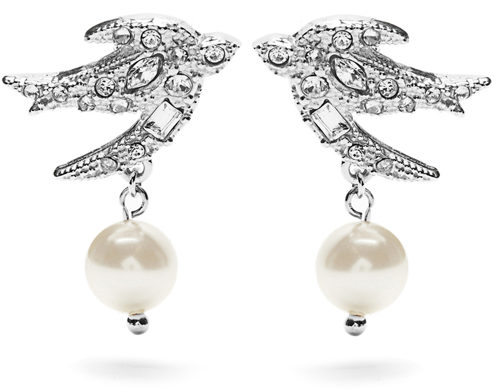 Miu Miu MIU MIU Swallow crystal-embellished earrings