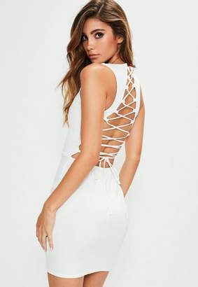 Missguided Sleeveless Lace Up Back Bodycon Dress