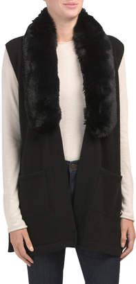 Cashmere Open Vest With Faux Fur Collar