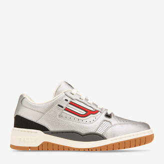Champion Grey, Men's Calf Leather Sneaker In Argento