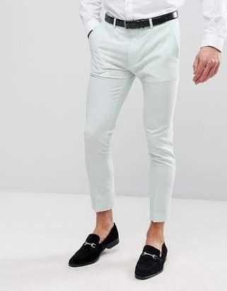 Asos Design Wedding Super Skinny Crop Smart Trousers In Mint