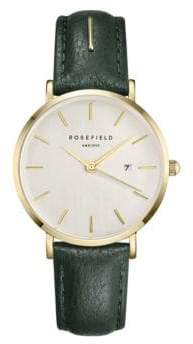 Rosefield September Issue Goldtone Stainless Steel Green Leather Strap Watch