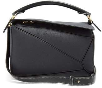 Loewe Puzzle Small Grained Leather Cross Body Bag - Womens - Black