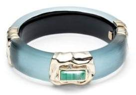 Alexis Bittar Swarovski Crytal& Multi-Stone Studded Crumpled Goldtone Hinge Bracelet