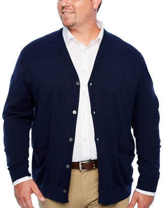 Claiborne Mens Y Neck Long Sleeve Cardigan - Big and Tall