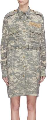 The R Collective Folded back yoke pixelated camouflage print shirt dress