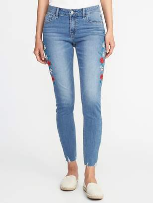 Old Navy Mid-Rise Embroidered Raw-Edge Rockstar Jeans for Women
