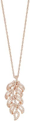 Lab-Created White Sapphire 14k Rose Gold Over Silver Leaf Pendant Necklace